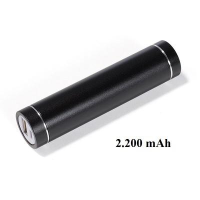 Schwarze runde Powerbank aus Metall mit 2.200 mAhus Metall
