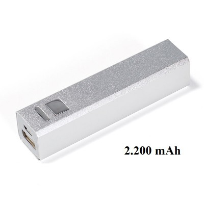 Powerbank silber eckig 2200 mAh