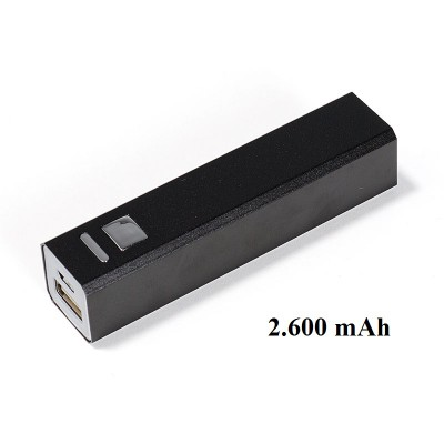 Powerbank schwarz eckig 2600 mAh