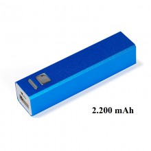 Powerbank eckig, blau, 2.200 mAh