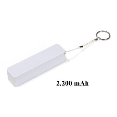 Powerbank Kunststoff, weiß, 2.200 mAh
